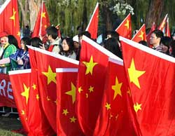 Paid Chinese students demonstrate in Canberra